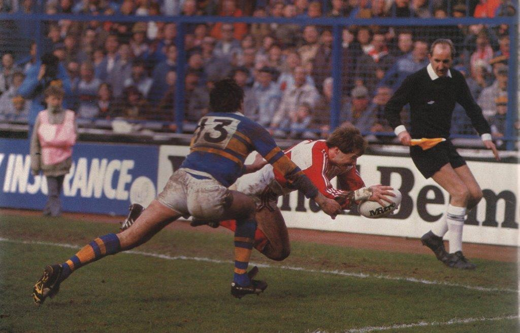 David Laws scoring in first match just before half time at Elland Road, Leeds on 29th March 1986.